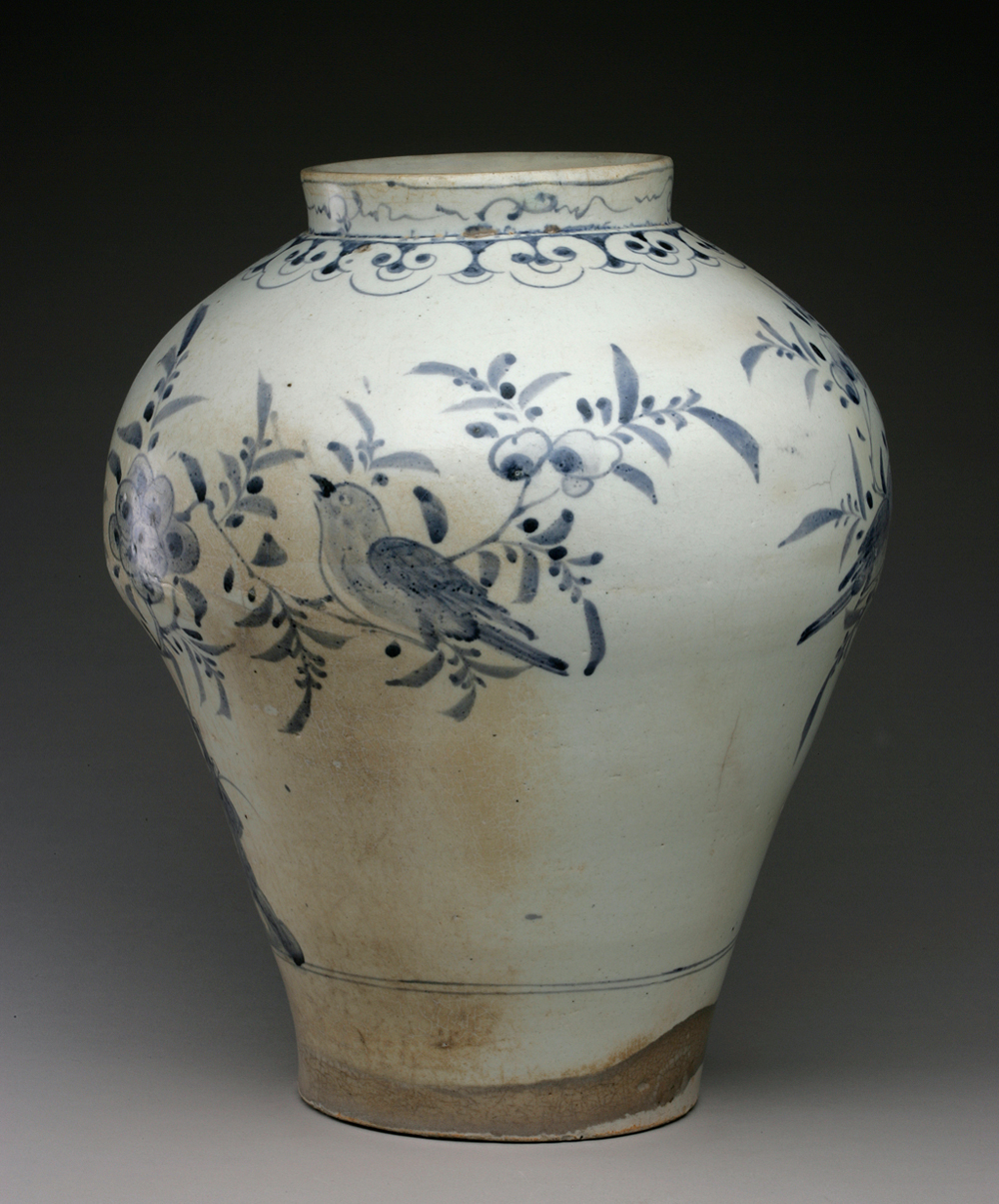 Vase with design of birds, plum blossoms, and rocks