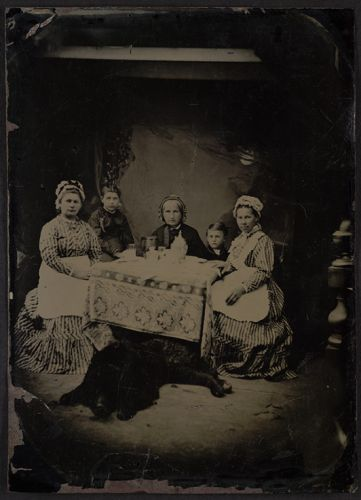 Family group tintype photograph unknown photographer ca.1865 Johnson Museum Cornell
