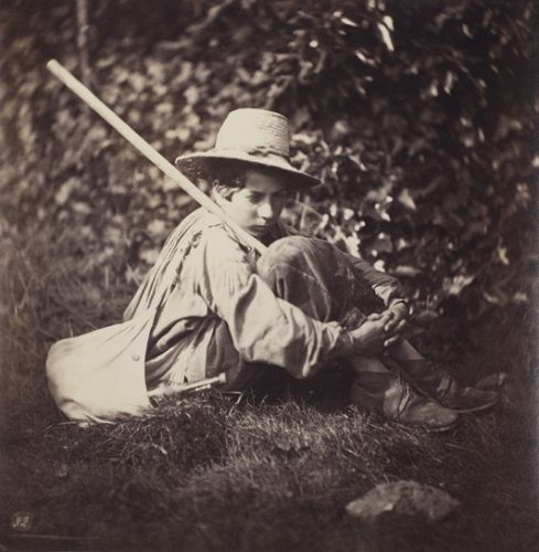 Giraudon's Artist French seated young man with staff and satchel late 1870s albumen print Johnson Museum Cornell