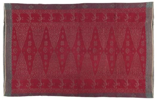 Skirtcloth (songet sarong) with designs of florettes, tumpals, birds, and ships