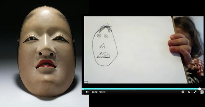 A painted wood face mask from Japan and a child's pencil drawing of the mask