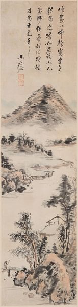Heo Ryeon Landscape 19th century hanging scroll ink and colors on paper