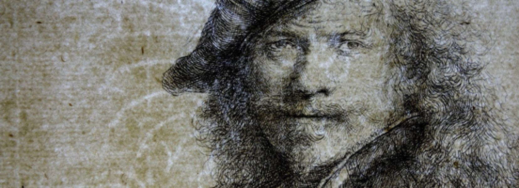 Rembrandt Self-Portrait Leaning on a Stone Sill Transmitted light photograph enlarged detail showing Basilisk watermark Yale University Art Gallery