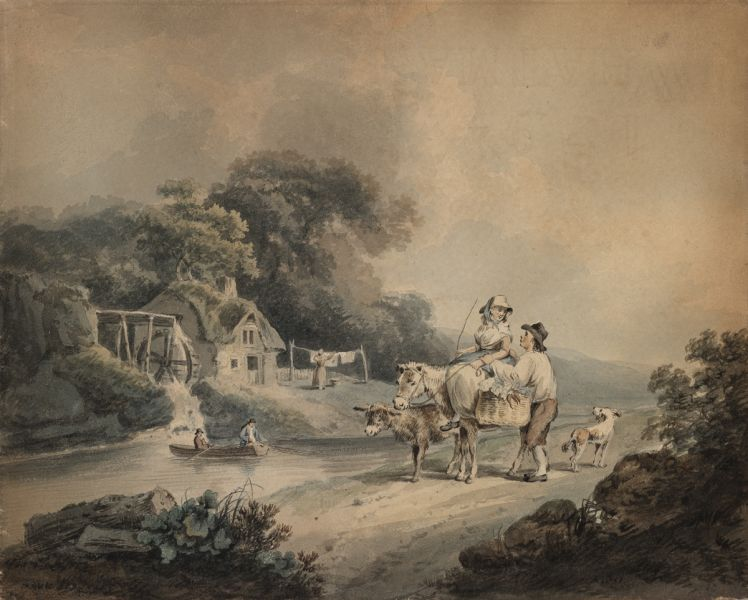 George Morland Landscape country couple mill