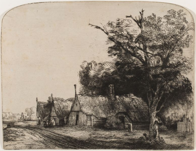 Rembrandt Landscape Three Gabled Cottages beside a Road 1650 Etching drypoint third state