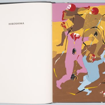 Open book with the word Hiroshima on the left and abstract human and dog figures in bright colors on the right