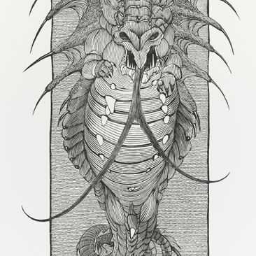 Black and white drawing of a dragonlike creature