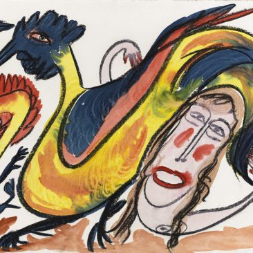 Thornton Dial Sr. Lady Holds the Rooster 1991