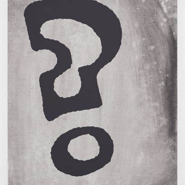 Black and gray painting of a question mark