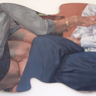 Two seated figures with crossed legs in abstract shape