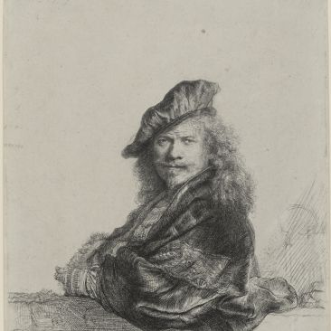 Rembrandt Self-Portrait Leaning on a Stone Sill 1639 Yale University Art Gallery