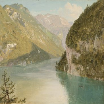 Mountainous landscape with river trees and boats
