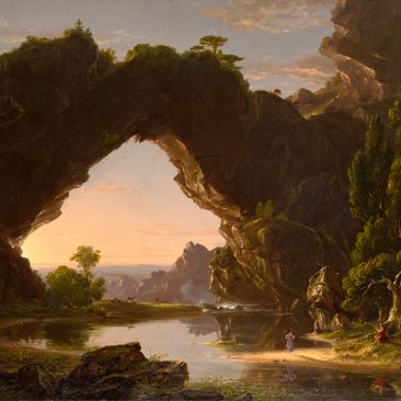 A landscape at sunset with an arching rocky formation, trees, water, animals, and human figures.