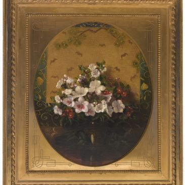 A still life of small white, pink, and red flowers in an ornate gold frame