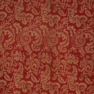 Cloth with red and gold floral design