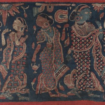 Cloth fragment printed with five female figures in white red and blue