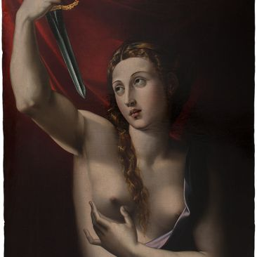 Nude woman holding dagger before red background