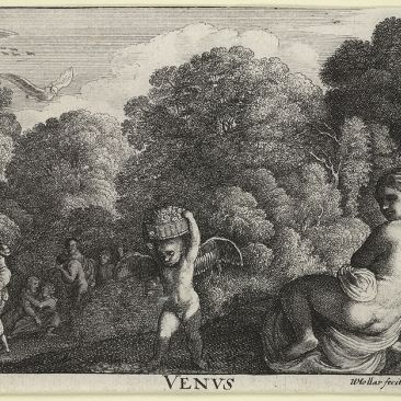 Etched landscape with figures birds cherubs and nudes