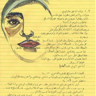 The face of a woman is drawn on a yellow lined paper with lines of handwritten text